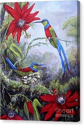 Passiflora Canvas Print - Swallowtail Hummingbirds by Amanda Hukill