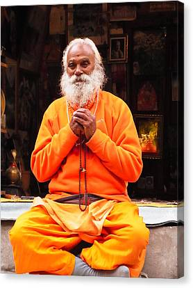 Swami Sundaranand At Tapovan Kutir 4 Canvas Print by Agnieszka Ledwon