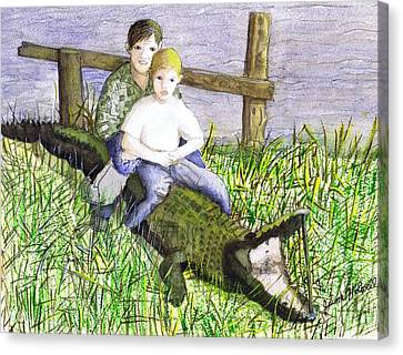 Canvas Print featuring the painting Swamp Boys by June Holwell