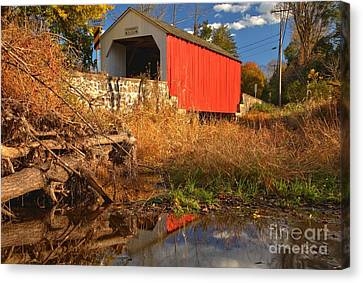 Swamp Creek Covered Bridge Reflections Canvas Print by Adam Jewell