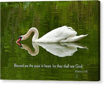 Swan Heart Bible Verse Greeting Card Original Fine Art Photograph Print As A Gift Canvas Print by Jerry Cowart