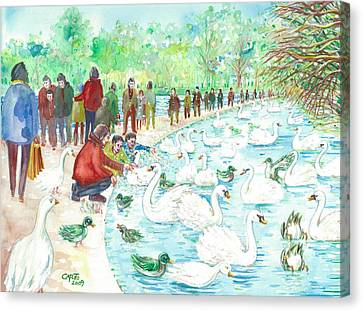 Canvas Print featuring the painting Swan Lake by Giovanni Caputo