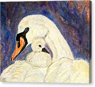 Canvas Print featuring the painting Mother's Love Swan And Baby Painting by Ella Kaye Dickey
