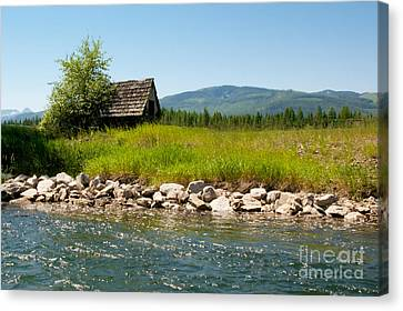 Swan River Cabin Canvas Print by Vinnie Oakes