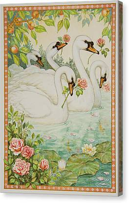Swan Romance Canvas Print by Lynn Bywaters