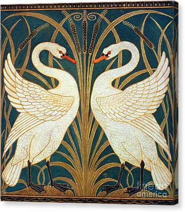 Swan Rush And Iris Canvas Print by Walter Crane