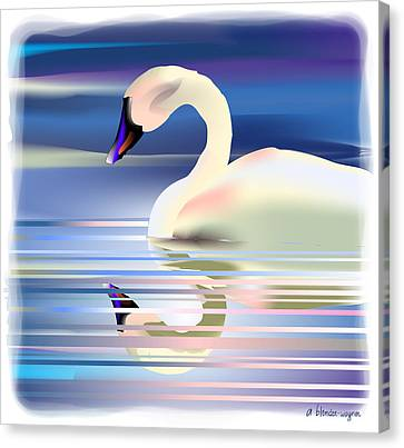Canvas Print featuring the digital art Swan Song by Arline Wagner