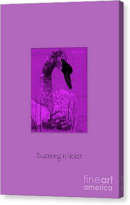 Canvas Print featuring the photograph Swanning In Violet by Linda Prewer