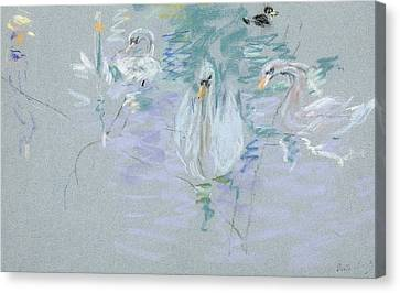 Ducklings Canvas Print - Swans by Berthe Morisot
