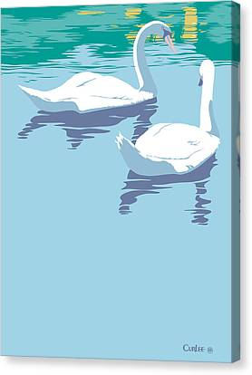 Abstract Swans Bird Lake Pop Art Nouveau Retro 80s 1980s Landscape Stylized Large Painting  Canvas Print by Walt Curlee