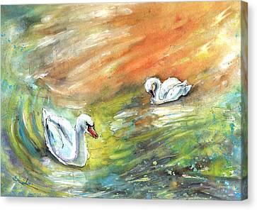 Swans From Bergamo Canvas Print by Miki De Goodaboom
