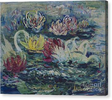 Canvas Print featuring the painting Swans In Lilies  by Avonelle Kelsey