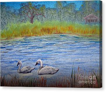Canvas Print featuring the painting Swans by Laurianna Taylor