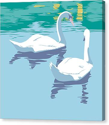 Swans On The Lake And Reflections Absract - Square Format Canvas Print by Walt Curlee