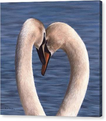 Swans Painting Canvas Print by Rachel Stribbling
