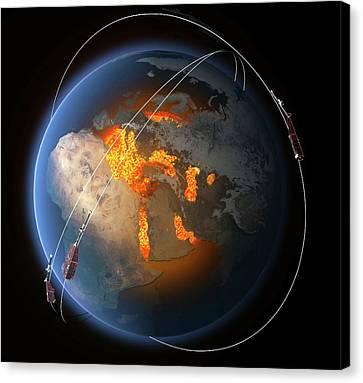 Swarm Satellites Canvas Print by Esa/atg Medialab