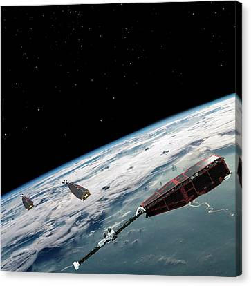 Swarm Satellites Canvas Print by European Space Agency/aoes Medialab
