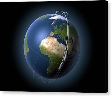 Swarm Satellites In Orbit Canvas Print by P.carril/esa