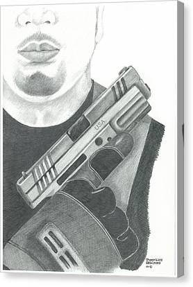 S.w.a.t. Team Leader Holding A Springfield Armory Xd 40 Cal Weapon Canvas Print by Sharon Blanchard