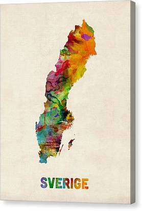 Sweden Watercolor Map Canvas Print by Michael Tompsett