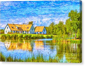 Swedish Lakehouse Canvas Print by Antony McAulay