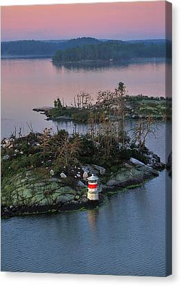 Canvas Print featuring the photograph Swedish Lighthouse At Dawn by Marianne Campolongo