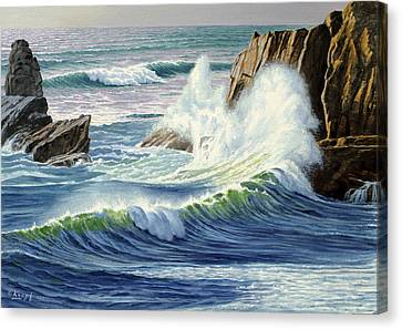 Oregon Coast Canvas Print - Sweeping Surf by Paul Krapf