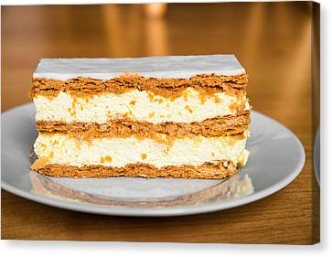 Sweet And Tasty Slice Of Cream Cake Canvas Print