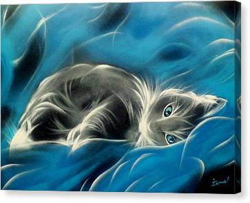 Sweet Cat Canvas Print by Ismael Paint