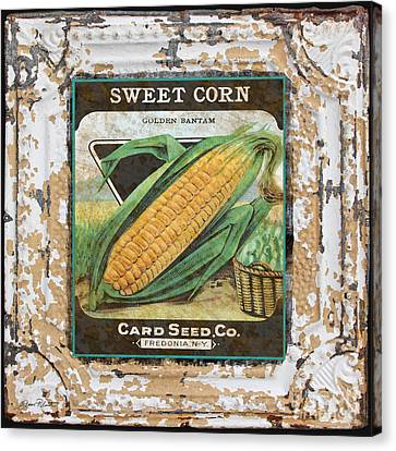 Sweet Corn On Vintage Tin Canvas Print by Jean Plout
