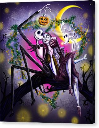 Sweet Loving Dreams In Halloween Night Canvas Print by Alessandro Della Pietra
