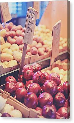 Canvas Print featuring the photograph Sweet Red Onions by Heather Green