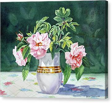 Canvas Print featuring the painting Sweet Tea Roses Bouquet by Irina Sztukowski