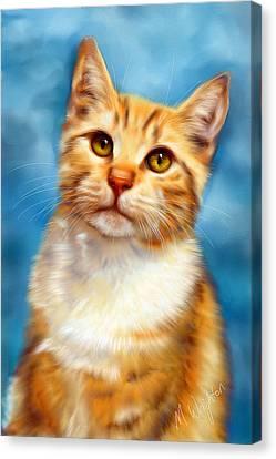 Sweet William Orange Tabby Cat Painting Canvas Print