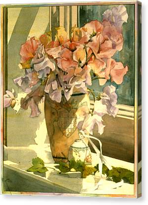 Sweetpea On The Windowsill Canvas Print by Julia Rowntree