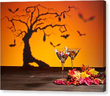 Sweets In Halloween Setting With Tree Canvas Print