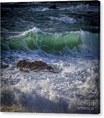 Swells In Doninos Beach Galicia Spain Canvas Print