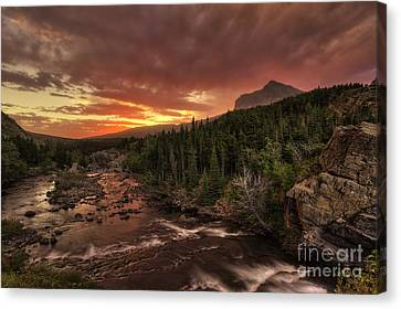 Swiftcurrent River Sunrise Canvas Print by Mark Kiver