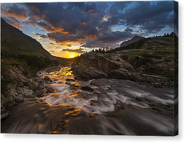 Swiftcurrent Sunrise Canvas Print by Joseph Rossbach