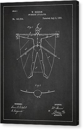 Swimming Apparatus Patent Drawing From 1881 Canvas Print by Aged Pixel