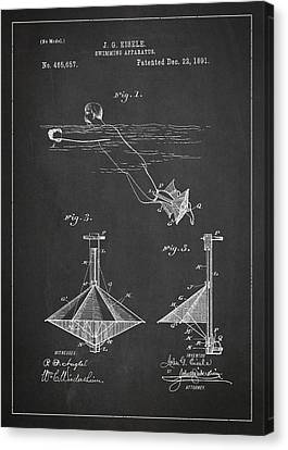 Swimming Apparatus Patent Drawing From 1891 Canvas Print by Aged Pixel