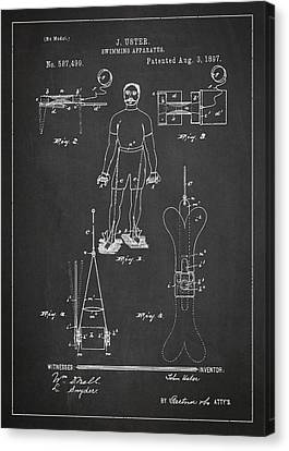 Swimming Apparatus Patent Drawing From 1897 Canvas Print by Aged Pixel