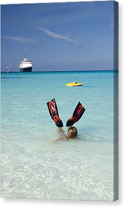 Swimming At A Caribbean Beach Canvas Print by David Smith