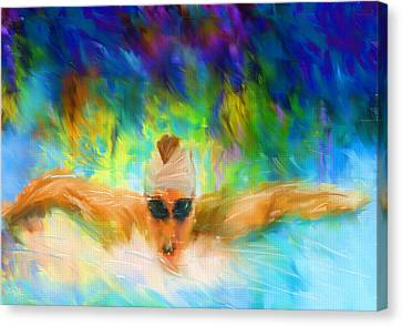 Swimmers Canvas Print - Swimming Fast by Lourry Legarde