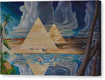 Canvas Print featuring the painting Swimming In That River In Egypt by Matt Konar