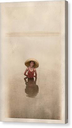 Canvas Print featuring the photograph Swimming by Ron Crabb