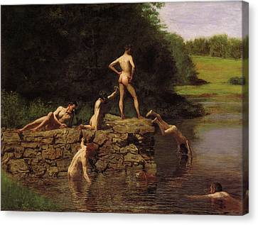 Swimming Canvas Print by Thomas Eakins
