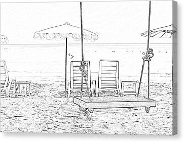 Swing And Beach Chair Canvas Print by Kan Pongsura