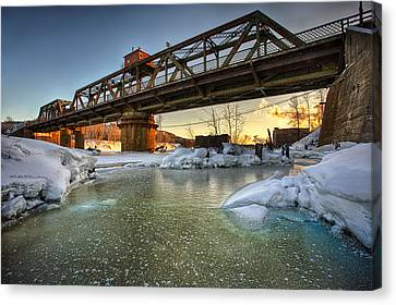 Swing Bridge Frozen River Canvas Print by Jakub Sisak