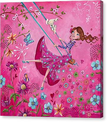 Flower Pink Fairy Child Canvas Print - Swing Girl by Caroline Bonne-Muller